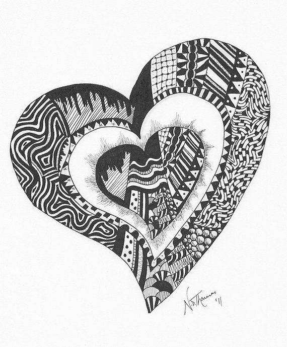 Zentangle, I love you, heart, valentine, lover, cariad, wedding ...