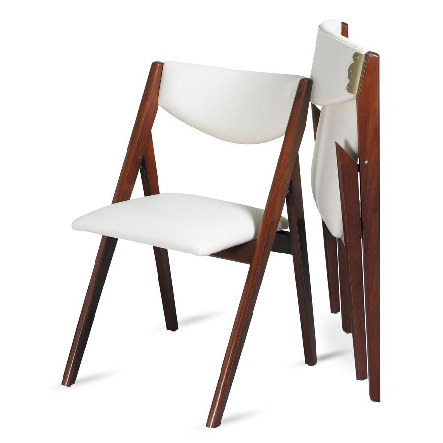Oooh look at this modern take on a folding dining chair a frame design upholstered in off - Dining room furniture benches ideas ...