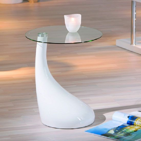 Vito White Gloss Lamp Table Is Part Of A Collection From A German Supplier Who Design Furniture W Glass Top End Tables Round Metal Side Table Glass Side Tables