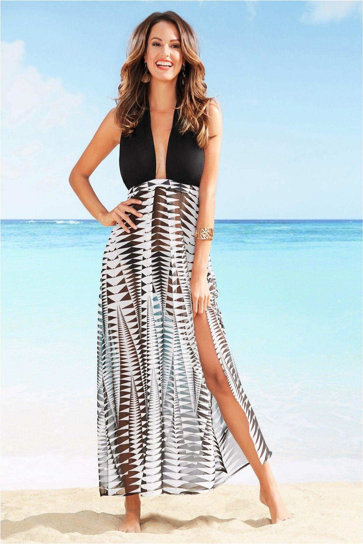 Bonprix Collection Bonprix Kadin Siyah Plaj Elbisesi Maksi Elbiseler Moda Stilleri Plaj Giyimi