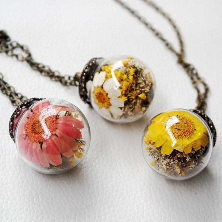 Korean Contracted Dried Flowers Glass Ball Long Clothing Chain Ball Necklace Handmade Necklaces Unique Jewelry Gifts