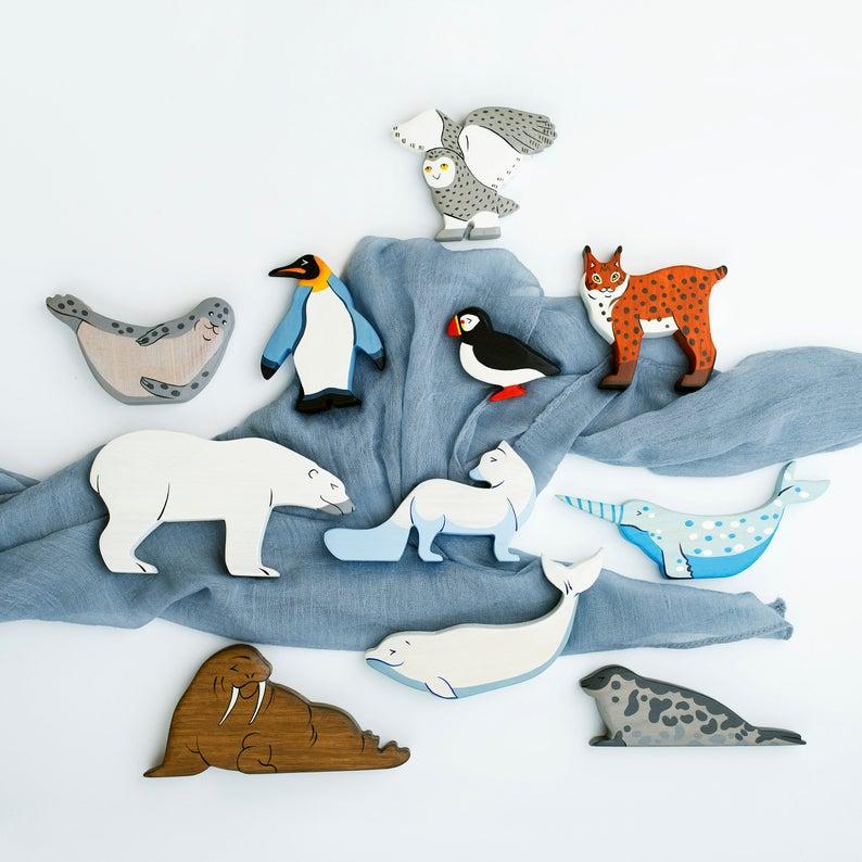 Wooden ringed seal figurine phoca Arctic animals North