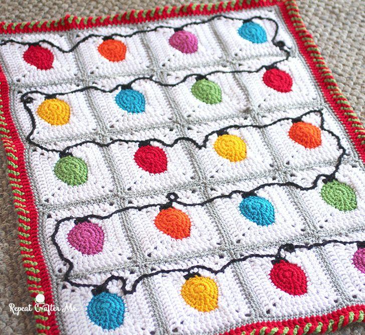 Crochet Christmas Lights Blanket   Christmas Crochet #2   Pinterest ...