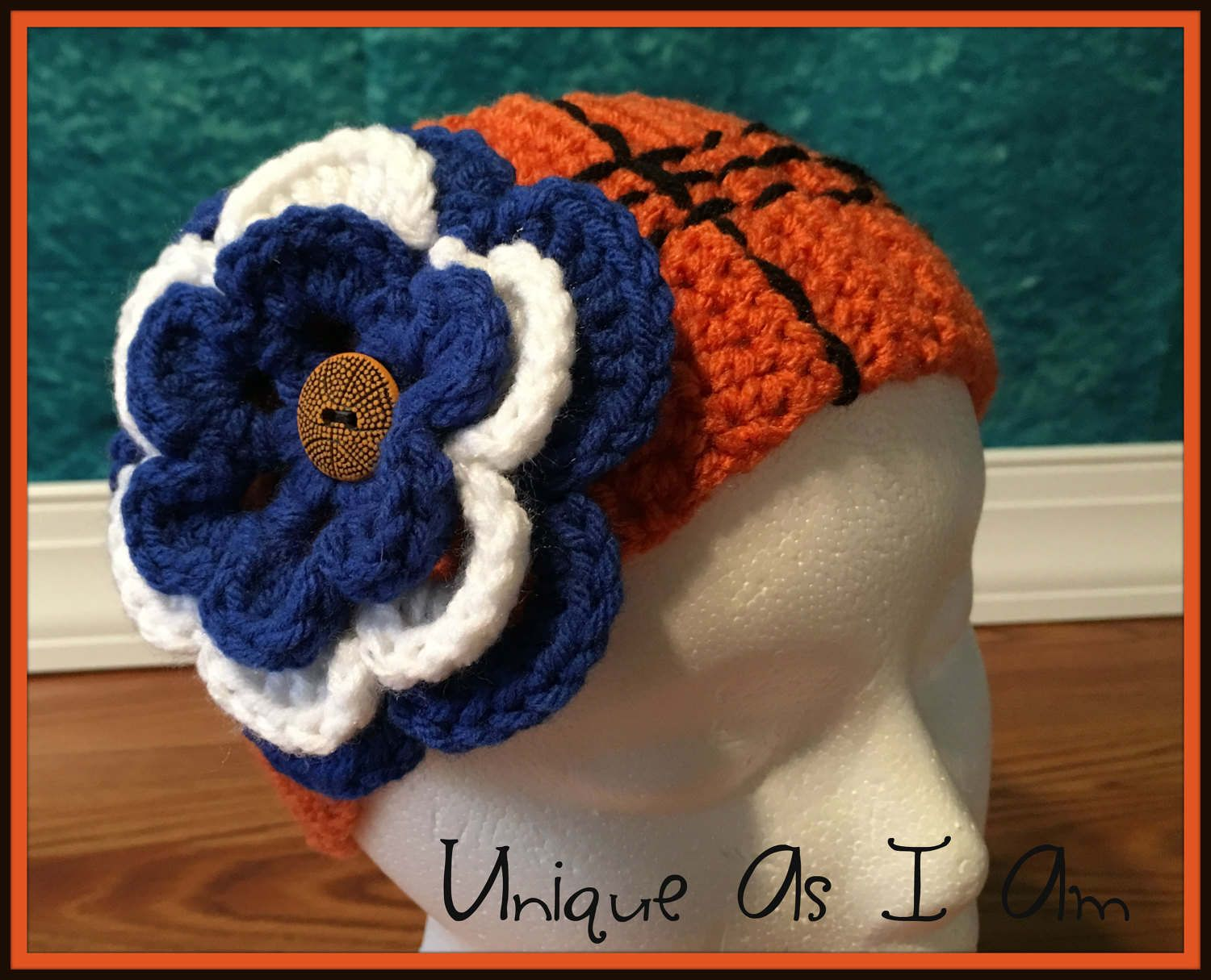 4a763f68c9e Crochet Basketball Themed Headband Earwarmer with Interchangeable Team  Flowers - Adult by UniqueAsIAm on Etsy