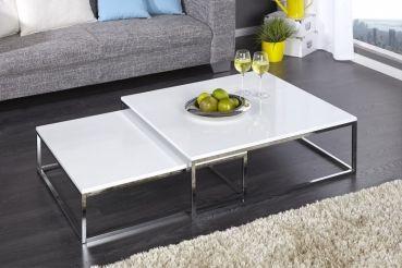 Design Couchtisch Set BIG FUSION Hochglanz Weiss Chrom Tisch Tische In  Möbel U0026 Wohnen, Möbel, Tische