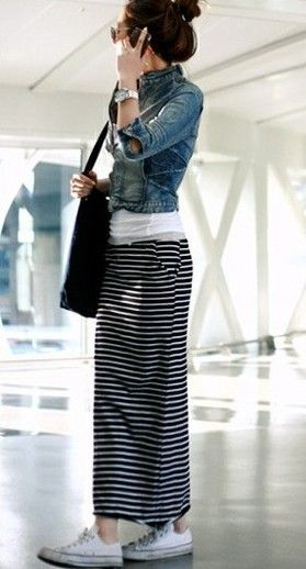 d30fe19b8c Styling a long striped skirt with a denim jacket and white tee #casual  #shoppingpicks