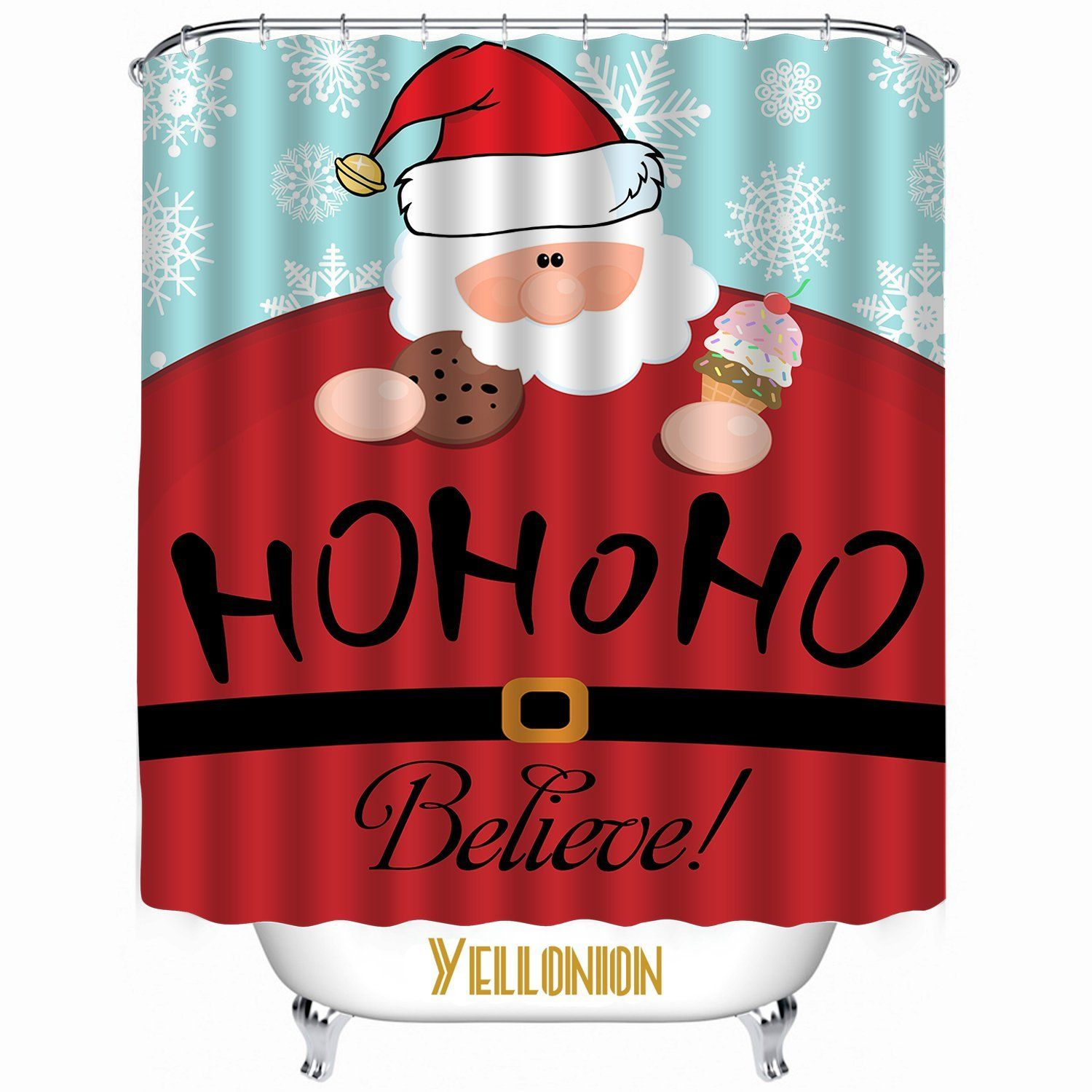 YELLONION™ Christmas Santa Claus Believe HOHOHO Decorative Bath Curtain,Mildew Resistant Waterproof Fabric Shower Curtain Standard Size 72x72 Inch List Price :$69.99 USD Coupon code: XGI95VVK Price After Discount : $29.99 USD @lukagod @bqoolcn #discount #coupon #curtain #christmas #santa #claus #bath #waterproof