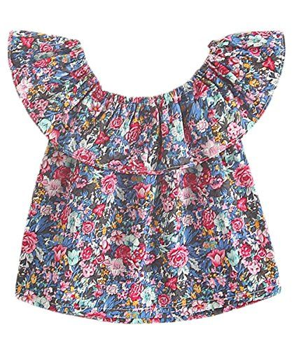 def82729c Little Girls' Floral Print Short Ruffle Sleeve Smocked Peasant Top Off  Shoulder *** Check out @