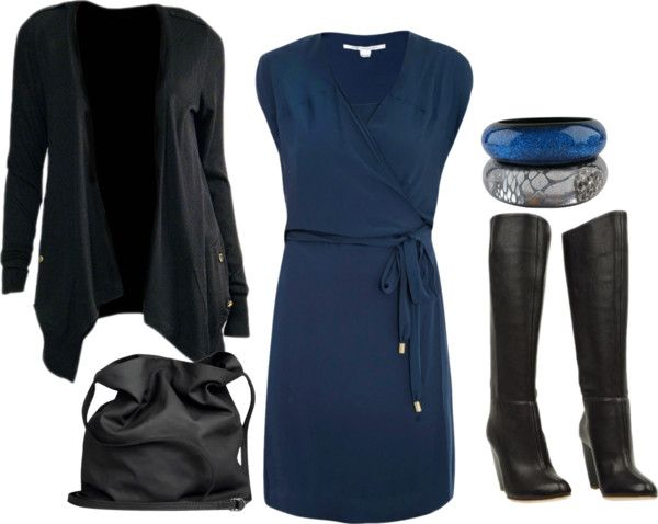 """Black & Navy Blue"" by tanyaf1 on Polyvore"