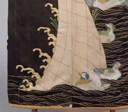 "detail of Kosode (Garment with small wrist openings), Design of Mandarin Ducks and Waves on Black Figured Satin), Edo era, 17th century  Tokyo National Museum. As the pattern often appeared in the fashion book ""Kosode Moyô Hinagata-bon (Pattern Sample Book for Short Sleeved Kimono, woodblock printed book)"" published in 1666 (the 6th year of the Kambun era), it is commonly known as ""Kambun Kosode."" The representative work of this pattern is this Kosode."