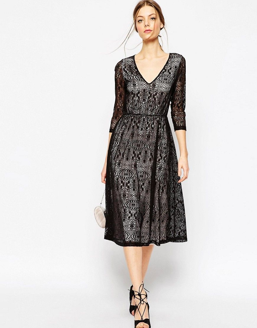 Image 1 ofASOS Lace Midi Dress With Contrast Lining