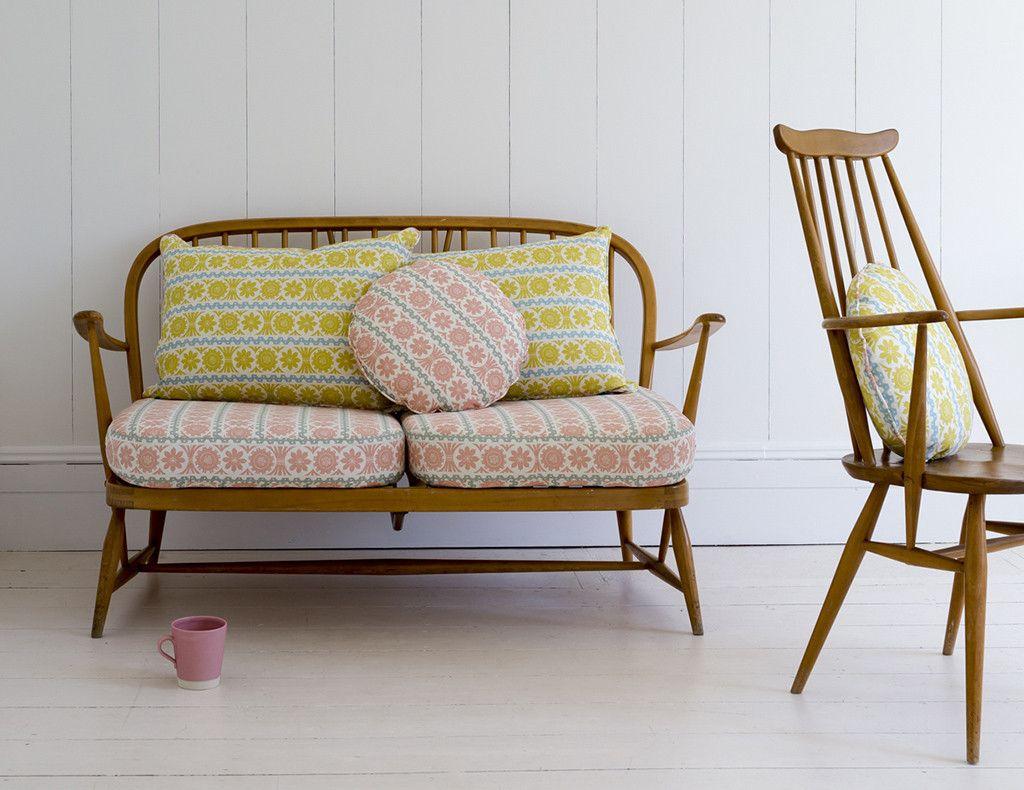 Pretty Angie Lewin Stellar fabric on vintage Ercol Windsor sofa