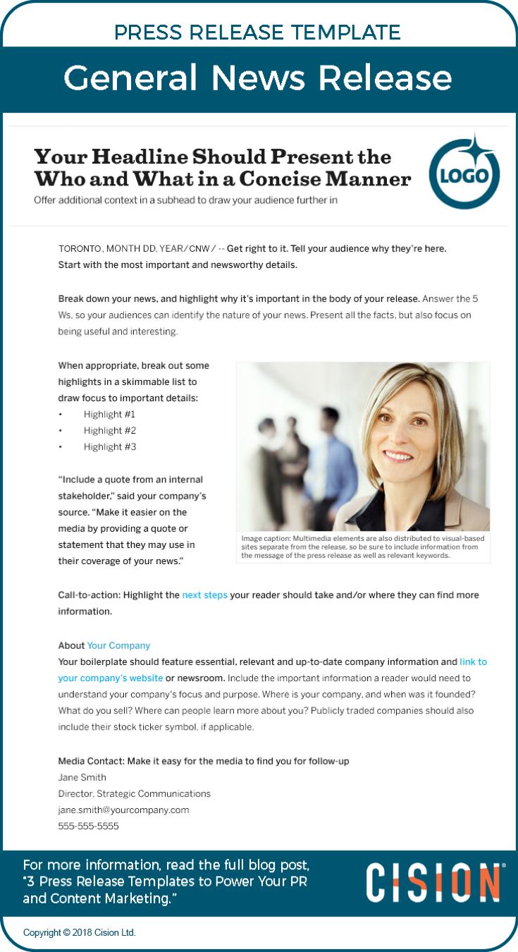 Three Press Release Templates To Power Pr Content Marketing Cision In 2020 Press Release Template Pr Newswire Press Release