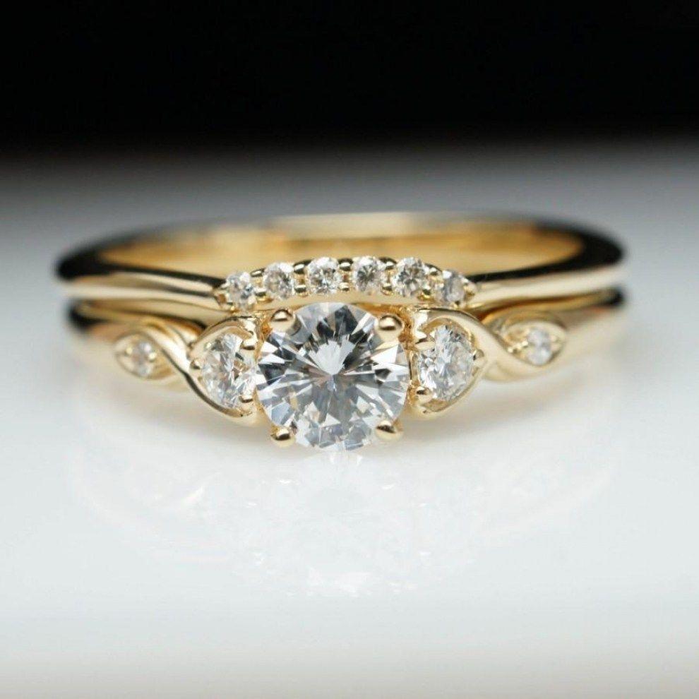 Wedding Rings Vintage Bridal Set Yellow Gold Vintage Wedding