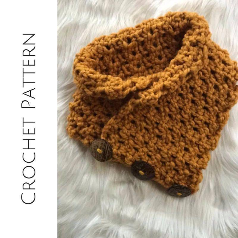 Crochet Scarf Pattern Button Cowl Bulky Yarn Pattern Beginner
