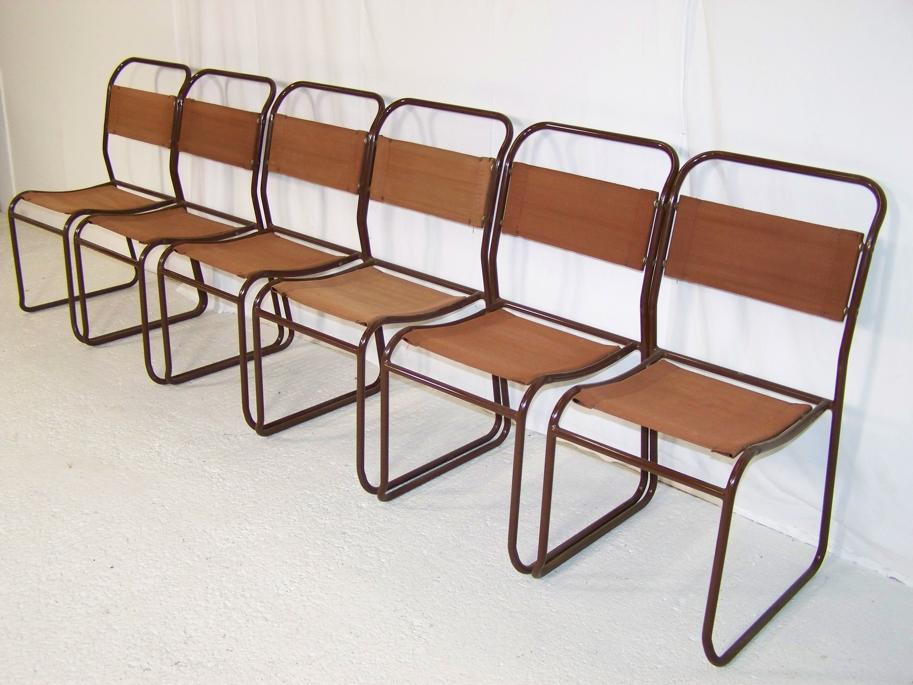 vintage bauhaus 1930s PEL stacking tubular metal and canvas chairs