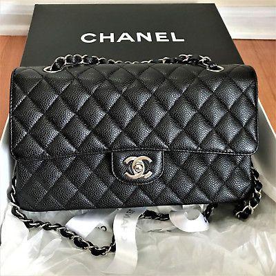 Mint Authentic Chanel Black Caviar Classic M L 2 55 Double Flap Bag Medium