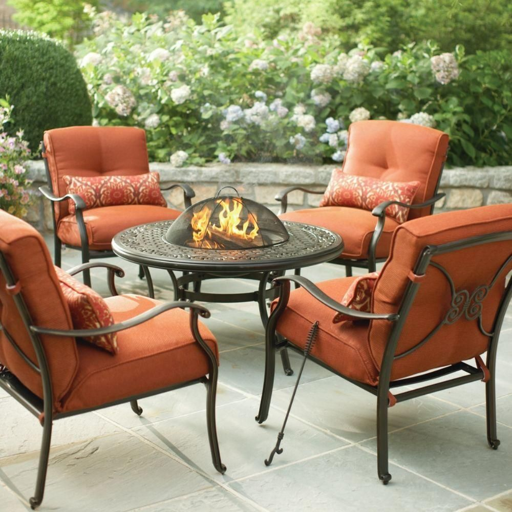 Bay outdoor furniture for your patio and garden hampton bay outdoor - Martha Stewart Living Cold Spring 5 Piece Patio Fire Pit Set With Red Cushions