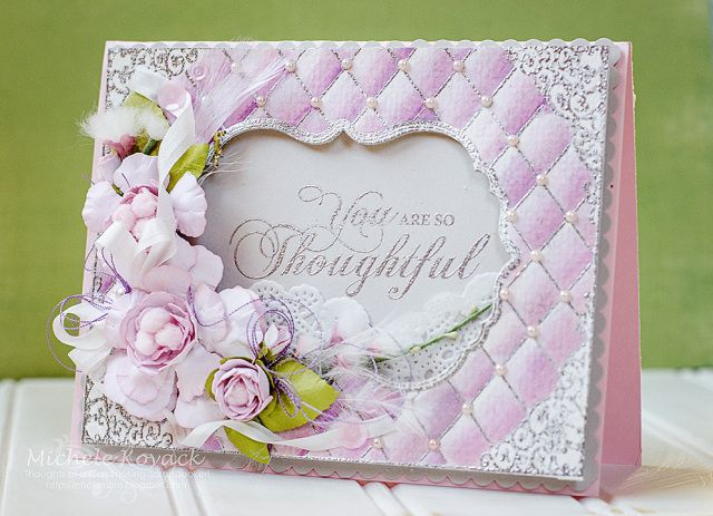 Beautiful card using JustRites new Tufted Background Stamp and Tim Holtz Distress Markers. Flowers created using Spellbinders Rose Creations dies.