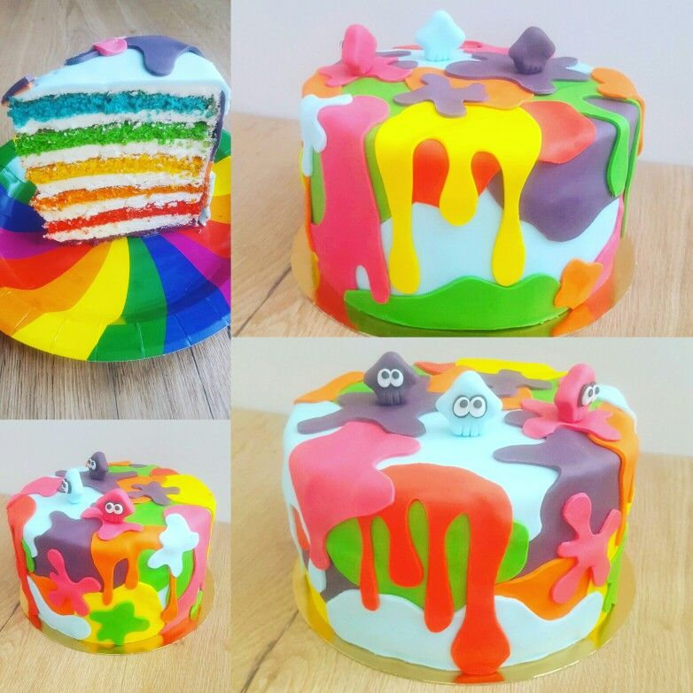 g teau d 39 anniversaire arc en ciel rainbow cake th me splatoon peinture calamar cake design mes. Black Bedroom Furniture Sets. Home Design Ideas
