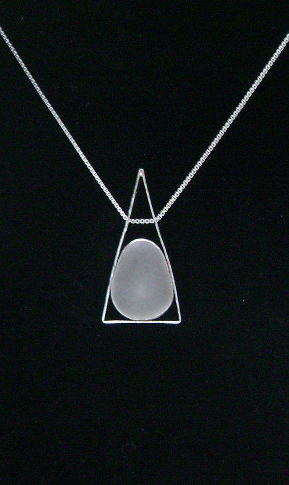 Sea Glass Jewelry Sterling White Sea Glass por SignetureLine