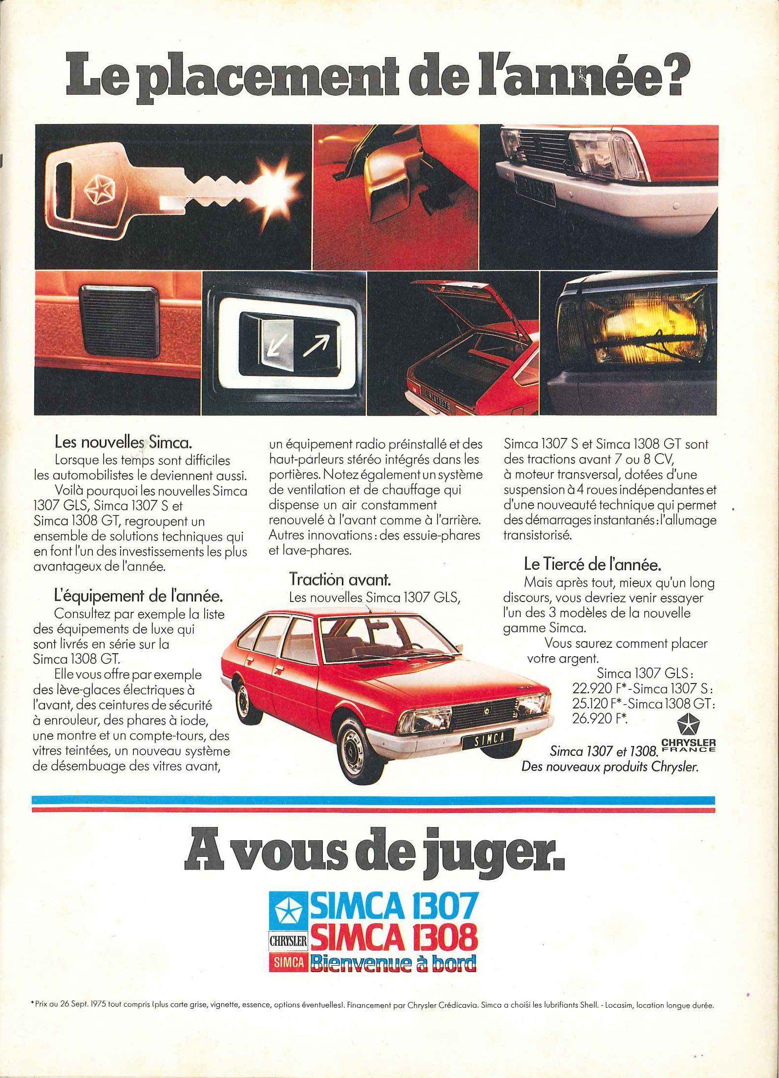 Simca 1307 Et 1308 L Express 27 Octobre 1975 Simca Audi 100 Publicite