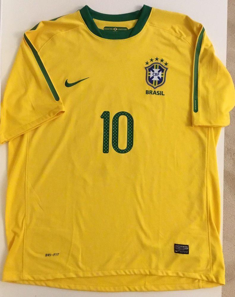 Brasil Soccer World Cup Jersey Nike Mens XL 10 Yellow Green CBF Brazil  SU101103D #Nike