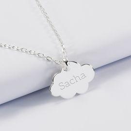 Pendentif personnalisé prénom médaille gravée argent dormeuse nuage 20x14