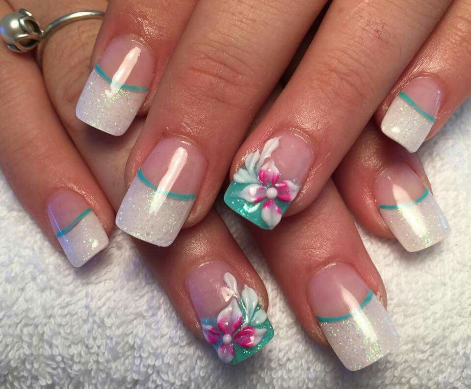 Pin By Michelle Boldt On Nails French Nail Designs Hibiscus Nail Art Spring Nail Art
