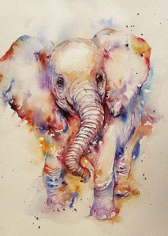 Baby Elephant Animal Art Watercolor Painting Cute