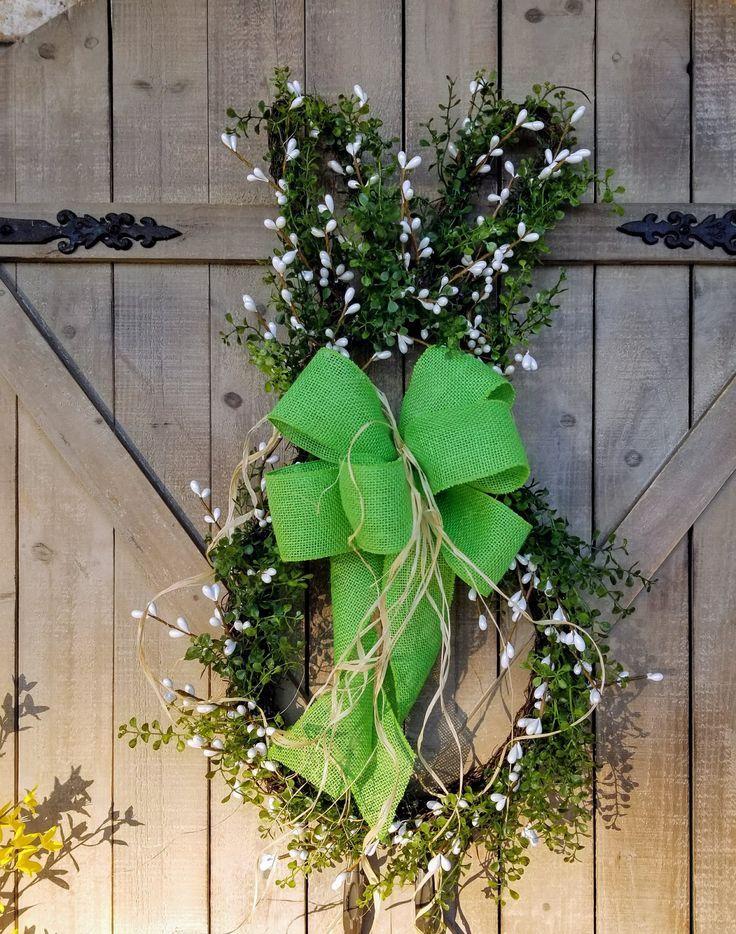 Easter Bunny Wreath Spring Front Door Decorations