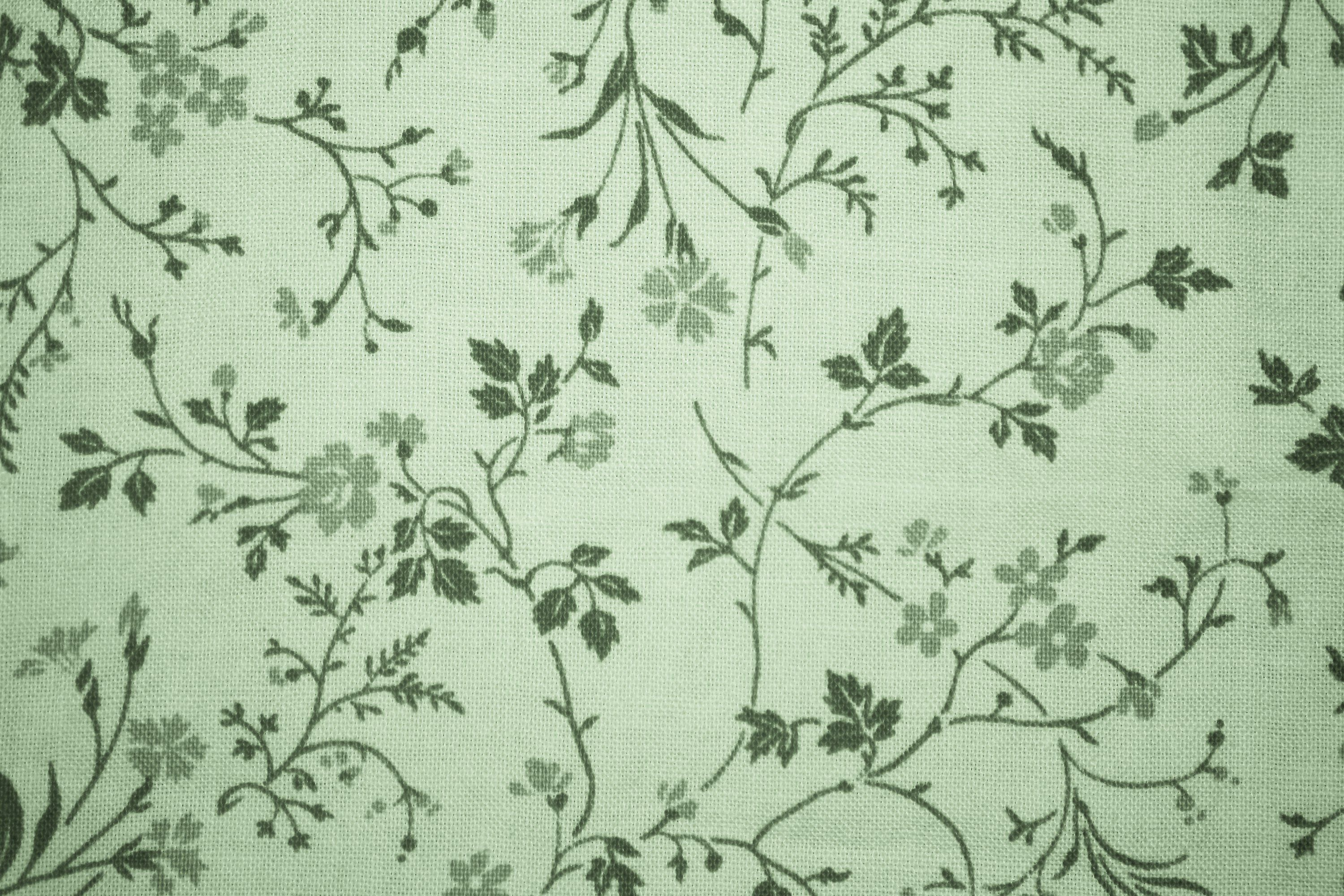 Sage Green Floral Print Fabric Texture Floral Print Background