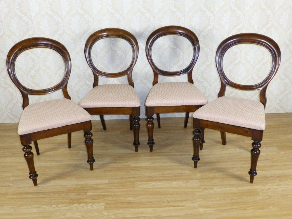 Set Of 4 Four Elegant Victorian Mahogany Balloon Back Dining Chairs