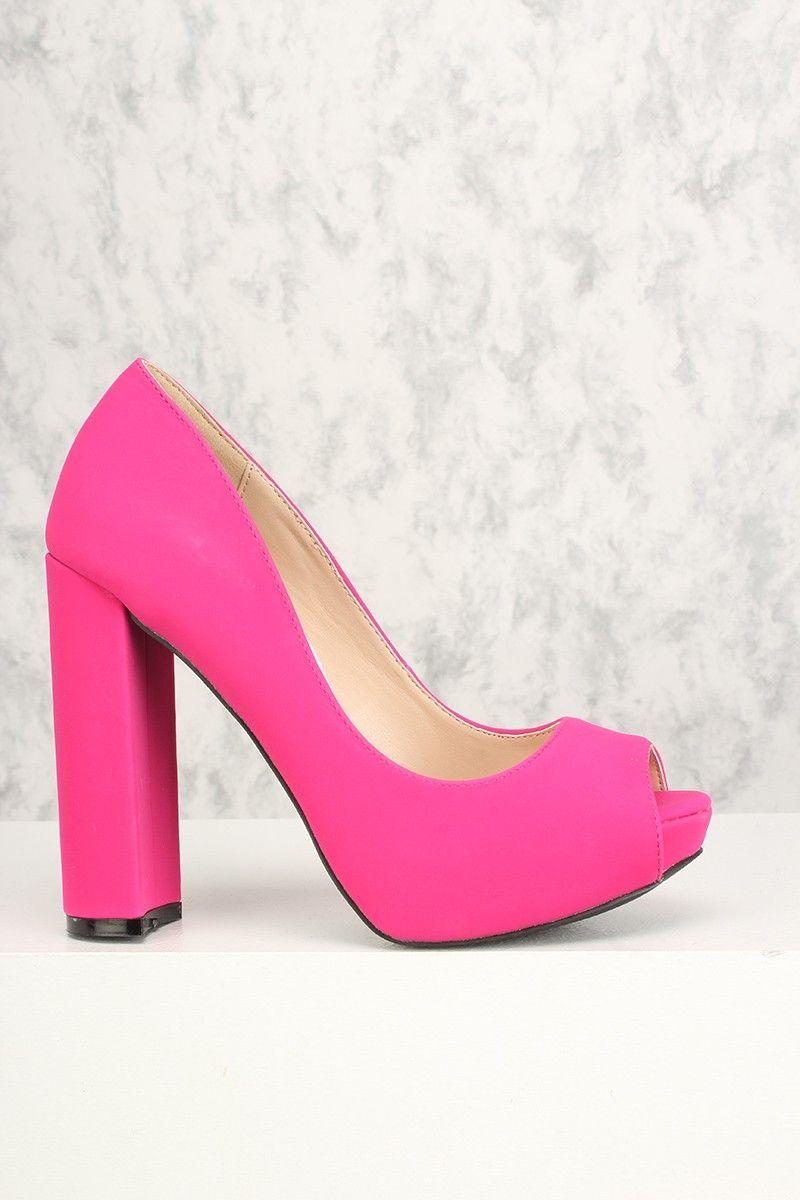 Sexy Fuchsia Peep Toe Platform Chunky High Heels  93f58a206e38