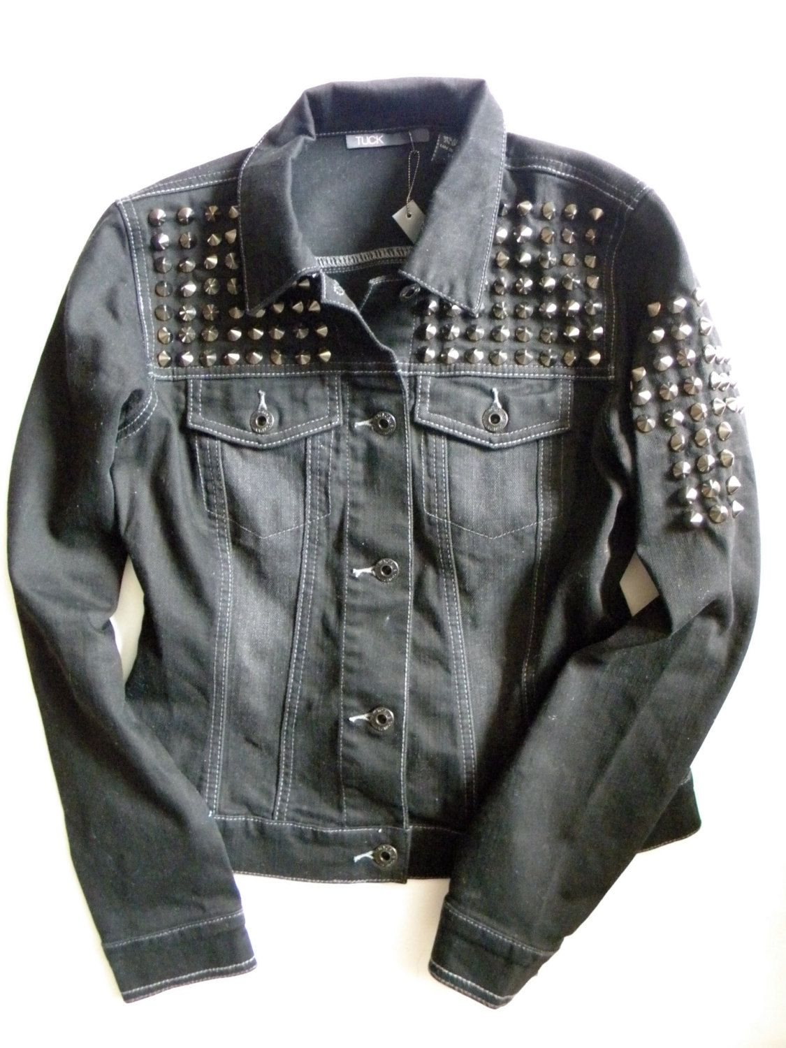 jacket embellishment leather with boxy biker stud be black
