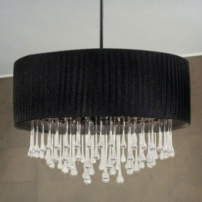 Crystal Teardrop Chandelier With Ruched Black Drum Shade