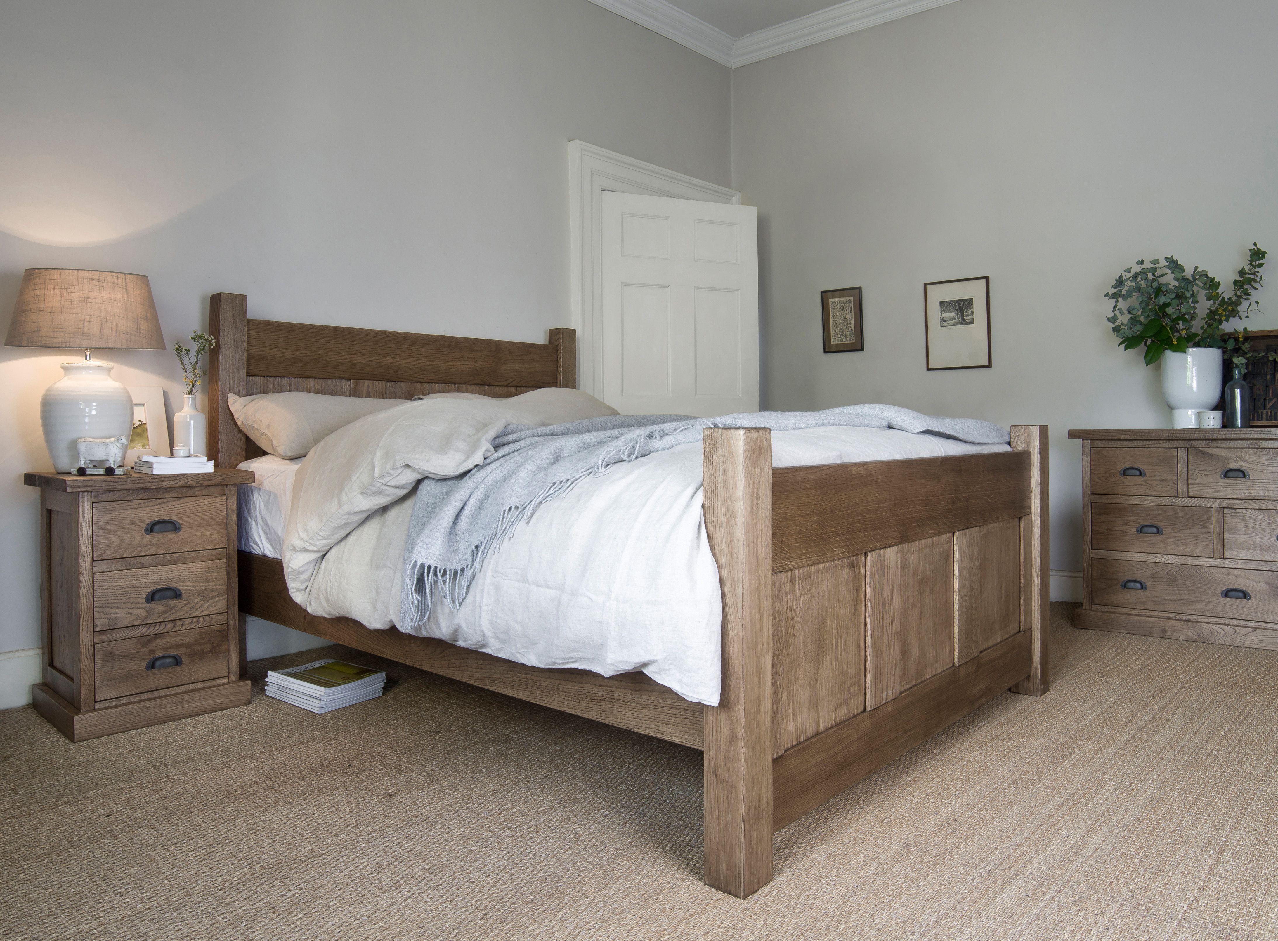 Aged Oak Georgian Panel Bed Indigo Furniture Bedroom