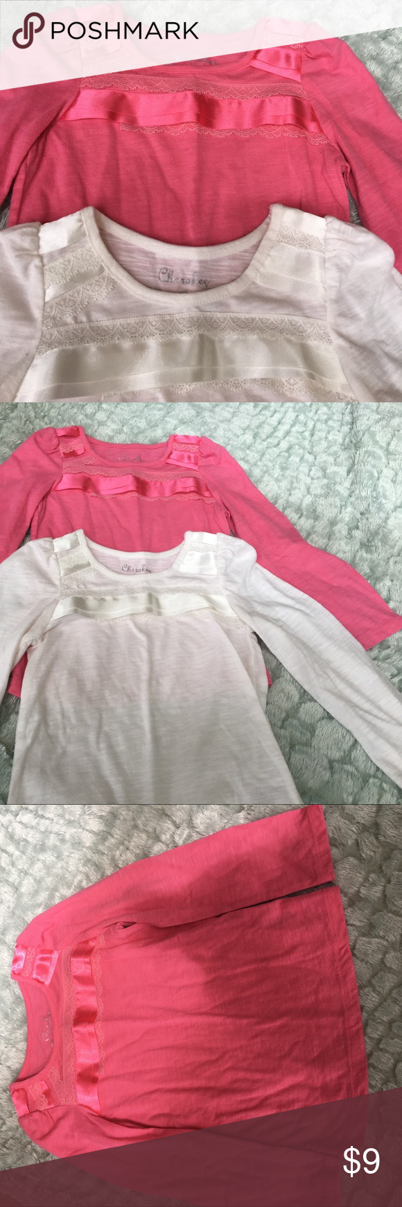 Bundle of Lace/Ribbon Shirts Cute long sleeve shirts with ribbon and lace to decorate the shoulders:) Cherokee Shirts & Tops Tees - Long Sleeve