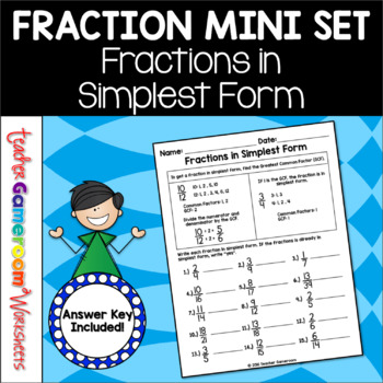 Fractions in Simplest Form (GCF) Worksheet | Common factors ...
