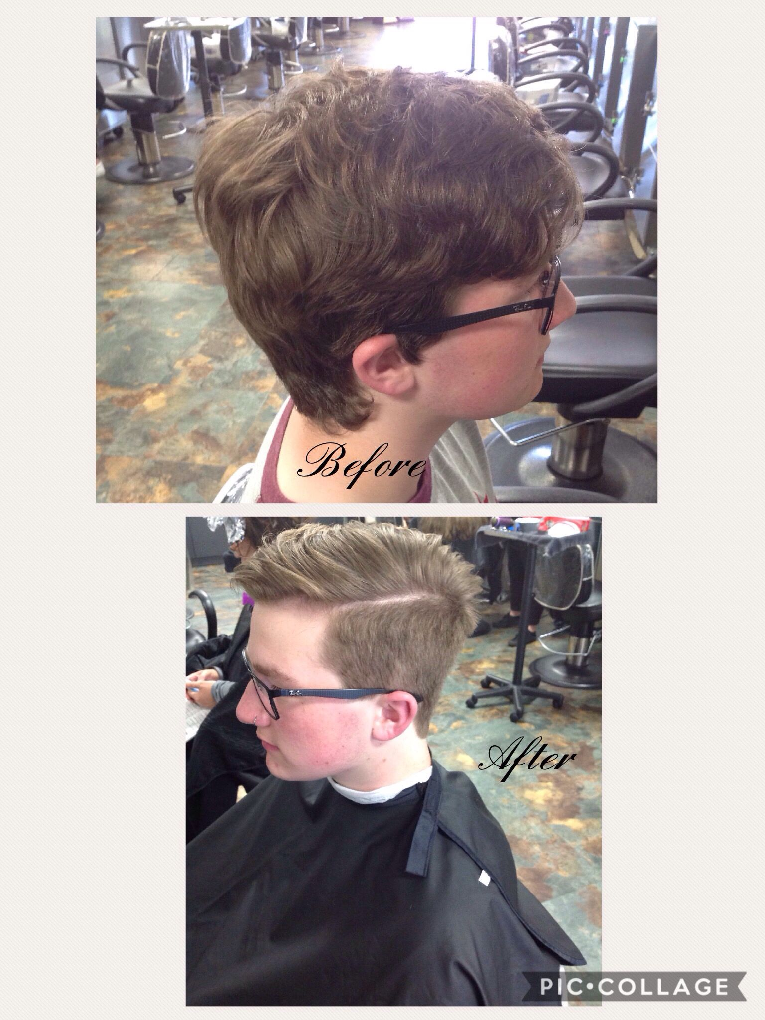 Menu0027s Haircut With Hard Part On Left Side On 6/13/17 Blow Dry