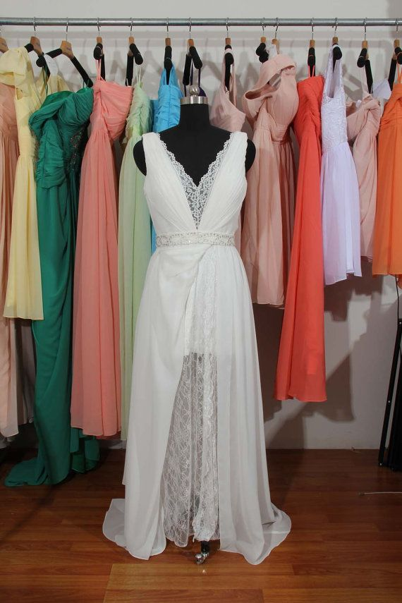 V-neck Lace Chiffon Wedding Dress With Slit by harsuccthing