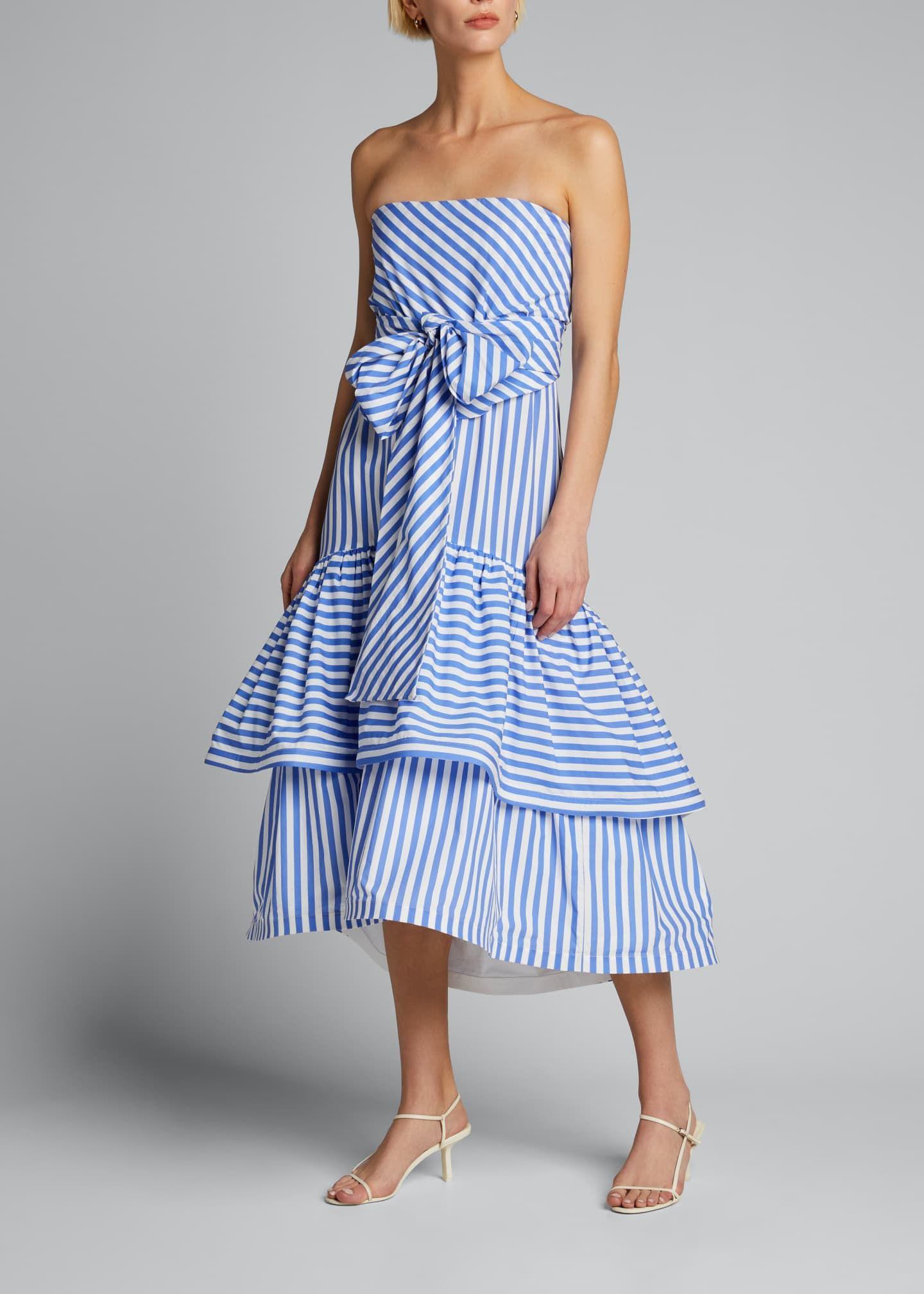 Silvia Tcherassi Striped Strapless Tiered Ruffle Dress Dresses Tiered Ruffle Dress Ruffle Dress [ 2016 x 1440 Pixel ]