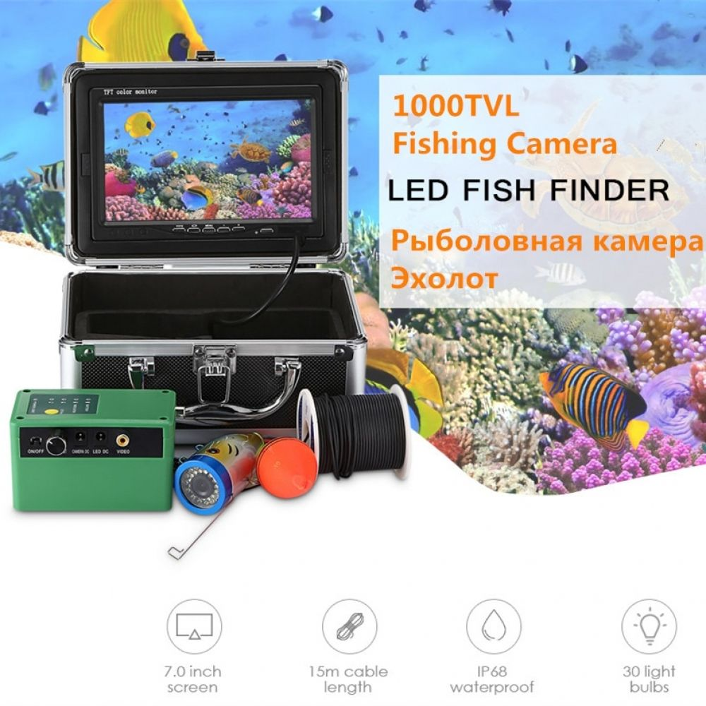 7/'/' 1000TVL Underwater Fishing Finder Camera Kit 12pcs LED Infrared Lamp Lights