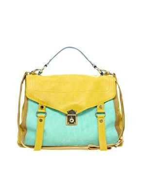 ASOS Leather Colour Block Satchel  129.29  01ddd71accbe7