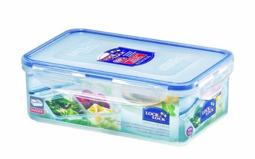 Delightful Lock Lock Rectangular Food Container With Divider, Short, 4.1 Cup, 34 Fluid  Ounces