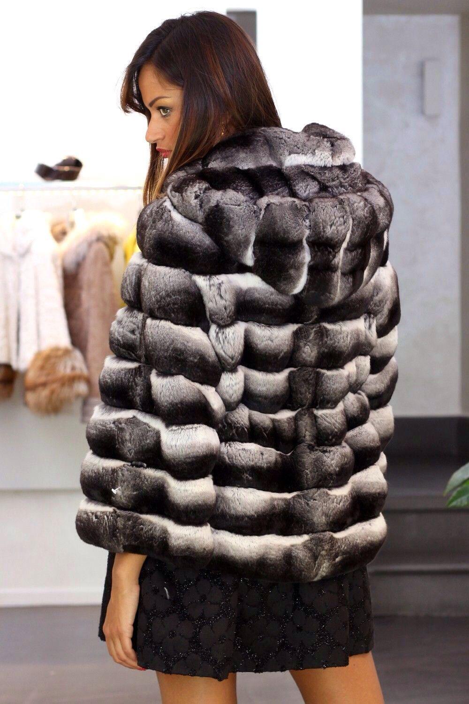 Black Velvet Chinchilla Fur Hooded Jacket