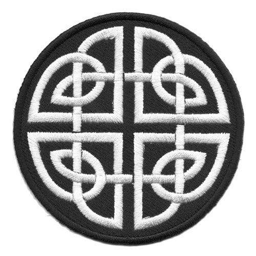Applikation Patch keltischer Knoten Ø 8cm Farbe Schwarz-Weiss in