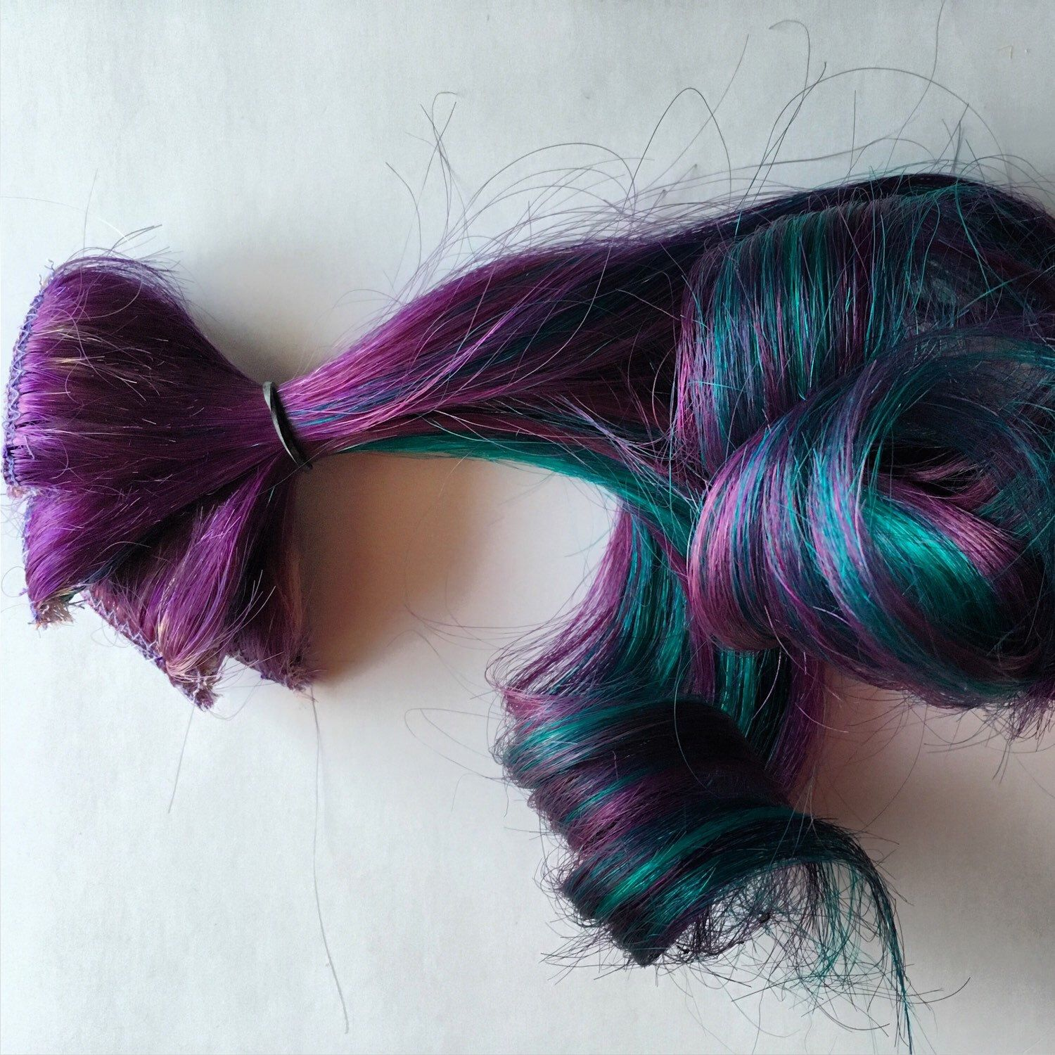 Purple And Teal Clip In Human Hair Extensions Fringe Bangs Clip In