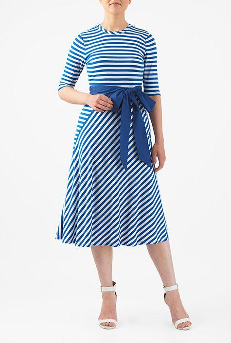 Stripe cotton knit sash tie dress