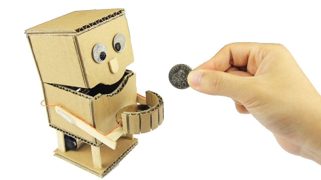 How To Make An Robot Piggy Bank With Measurements Just5mins Piggy Bank Diy Cardboard Robot Diy Robot